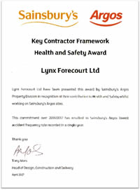 Sainsbury's Health and Safety Award